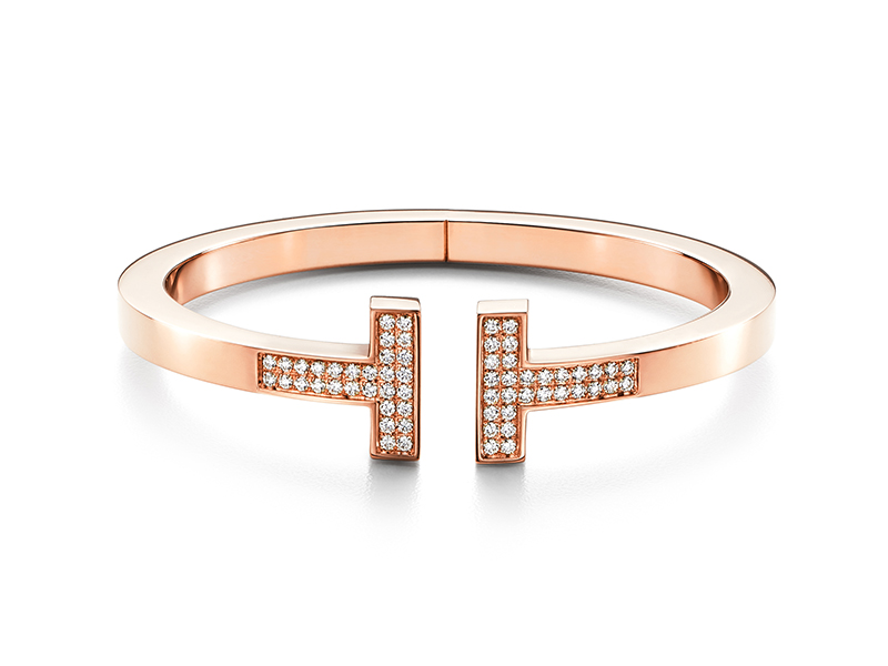 Tiffany & Co. - Tiffany T Bracelet Square monté en or rose serti de diamants
