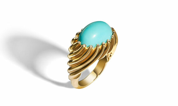 Frederique Berman Amorgos ring mounted on 18ct rose gold set with turquoise and diamonds.