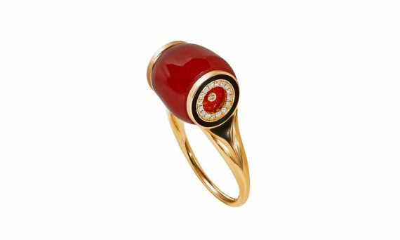 Frédérique Berman Minos ring 18ct rose gold mediterranean coral diamond