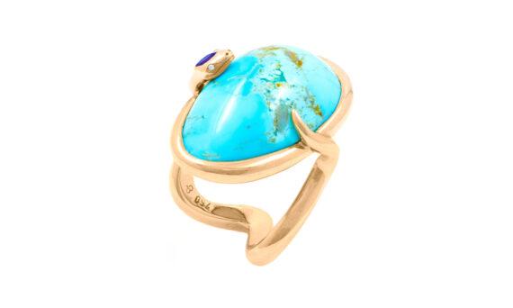 Frédérique Berman Delphi ring 18ct rose gold arizona turquoise amethyst white diamonds
