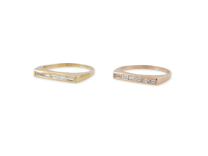 Jacquie Aiche - Bagues en or rose et jaune serties de diamants taille baguette