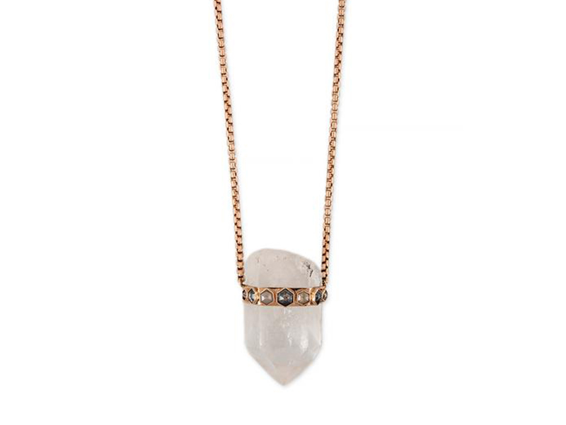 Jacquie Aiche - Collier en quartz serti de 7 diamants