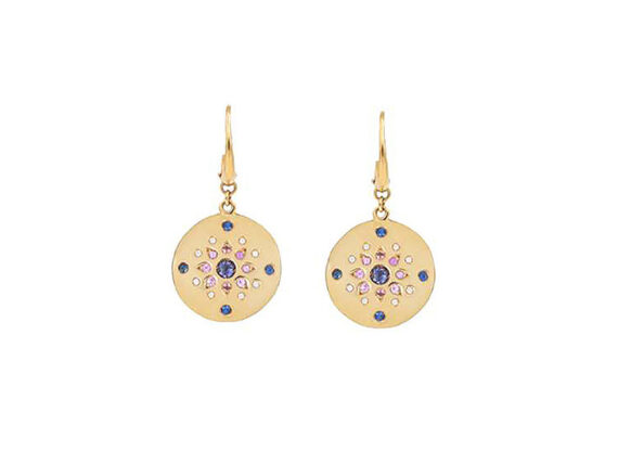 Mezzanotte Milano earrings mounted on yellow gold set with iolite, blue and pink sapphires and diamonds