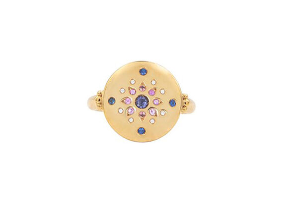 Mezzanotte Milano ring mounted on yellow gold set with iolite, blue and pink sapphires and diamonds