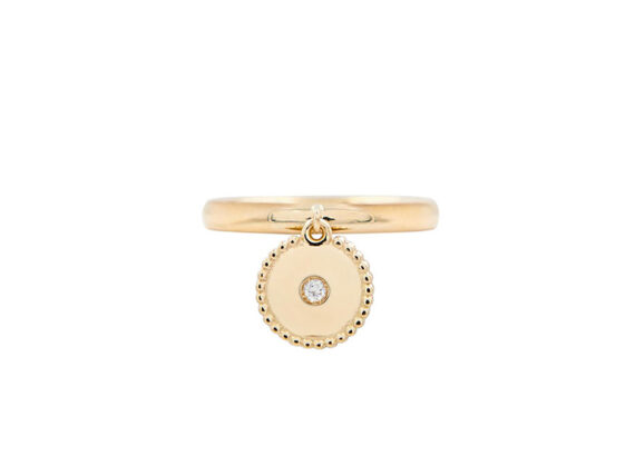 Mezzanotte Milano Charm Stacking Ring mounted on yellow gold with a central diamond