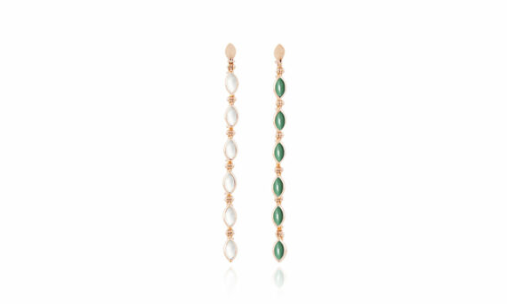Marie Mas Swinging Long Line Earrings malachite and mother of pearl