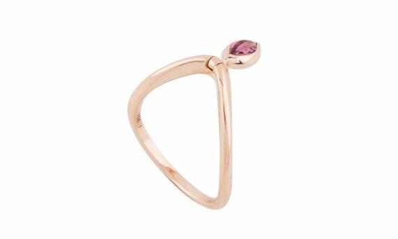 Marie Mas Swinging Marquise Diamond V Ring pink tourmaline