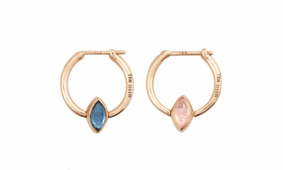 Marie Mas Swinging Mini Hoop Earrings London blue topaz amethyst