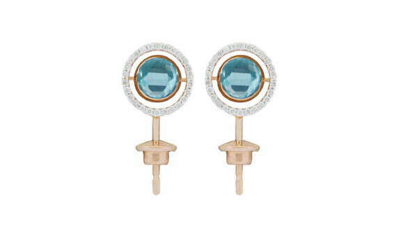 Marie Mas Swiveling Side Stud Earrings London Blue Topaz diamonds
