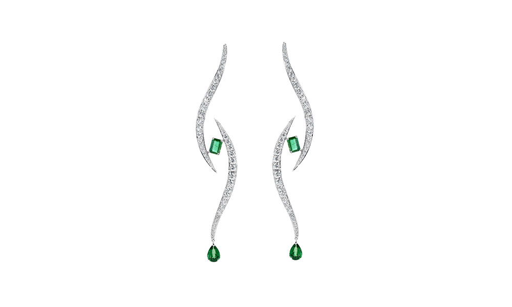 Tabayer All Eye On You Earrings 18ct white gold emeralds diamonds