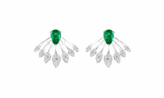 Tabayer The Blink Earrings 18ct white gold diamonds emeralds