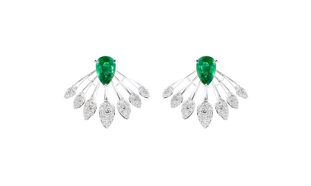Tabayer The Blink Earrings 18ct white gold diamonds emeralds