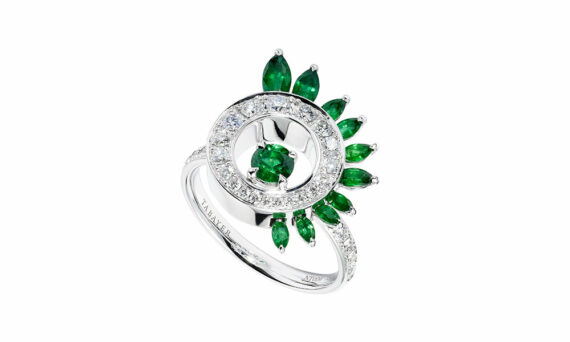 Tabayer The Vision Ring 18ct white gold diamonds emeralds