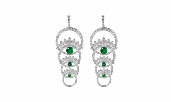 Tabayer Third Eye Earrings 18ct white gold emeralds diamonds