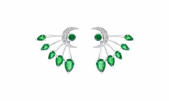 Tabayer Visions Earrings 18ct white gold emeralds diamonds