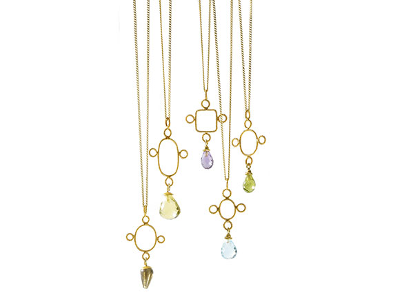 Christina Soubli Tiny Cross pendants with gemstone