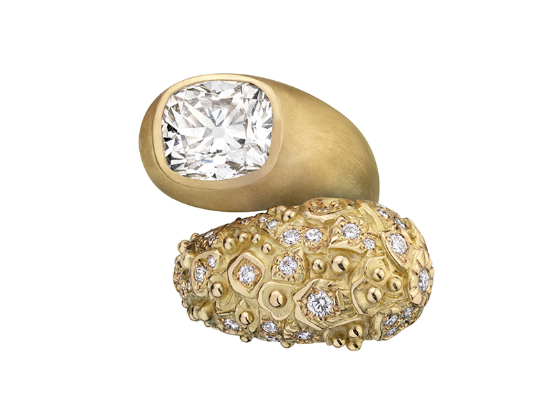 Garnazelle - Bague Wonder montée en or jaune sertie de diamants