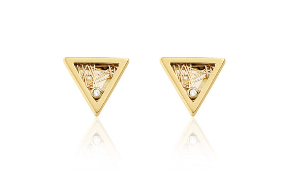 Anastazio Jewellery Demeter earrings mounted on 18kt yellow gold set with diamonds