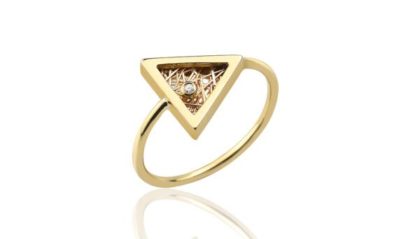 Anastazio Jewellery Eos Ring mounted on 18kt yellow gold set with one diamond