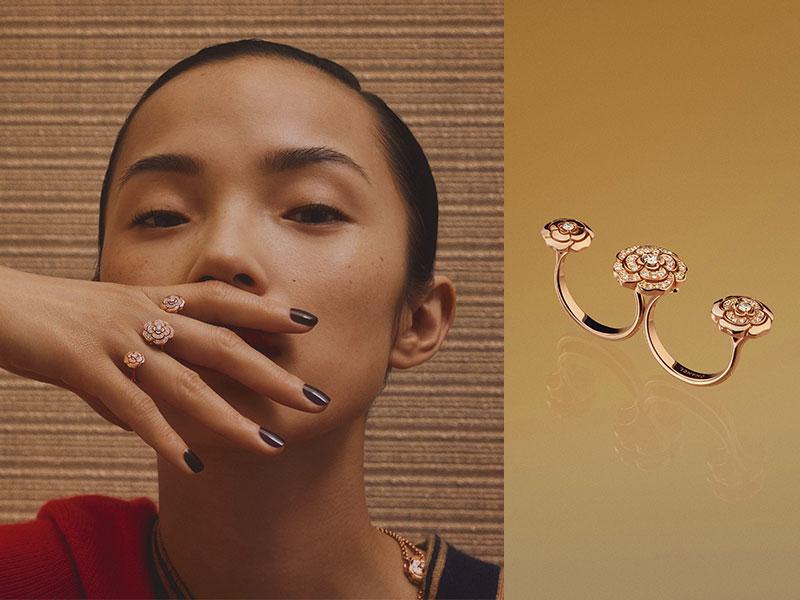 Chanel - Bague Triple Extrait de Camélia en or rose sertie de diamants