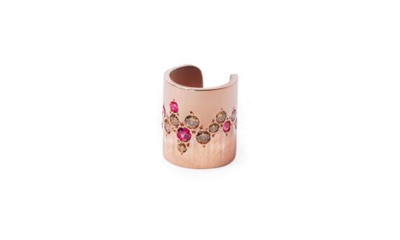 Flav Joaillerie Paris Aphrodite ear cuff rose gold brown diamonds rubies