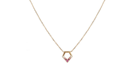 Flav Joaillerie Paris Kiss me baby necklace yellow gold diamonds colored stones