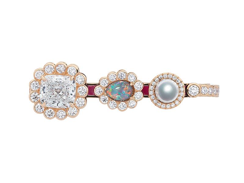 Dior - Bague Double sertie d'une opale et de diamants avec laque rose