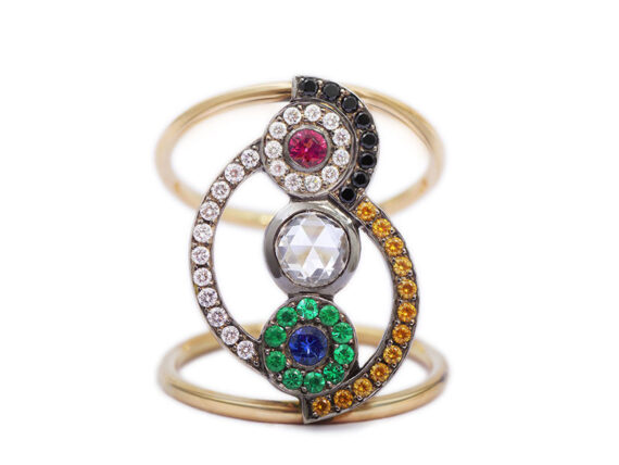 Sonia Rainbow ring mounted on yellow gold set with diamonds, sapphires, emeralds and a pink spinel by Flav Paris Joaillerie