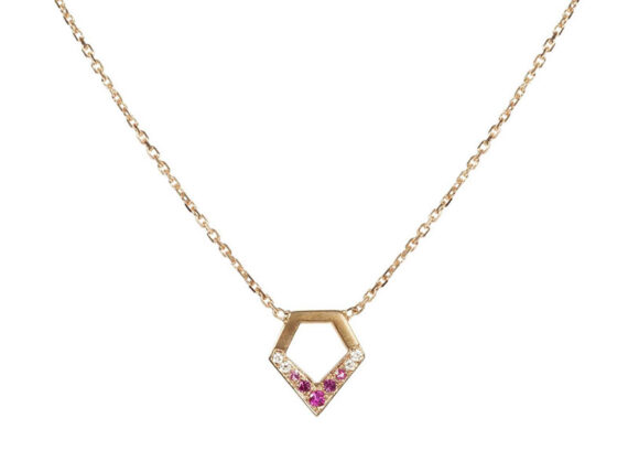 Kiss-me Baby necklace mounted on yellow gold et with white diamonds and pink sapphires