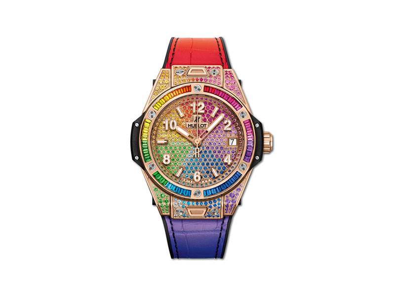 Hublot - Montre Big Bang One-Click Rainbow en or satiné et sertie de pierres
