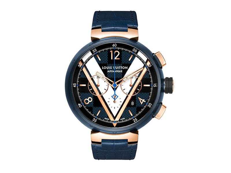 Louis Vuitton - Montre Tambour Damier Cobalt Chronographe automatique cadran sérigraphié