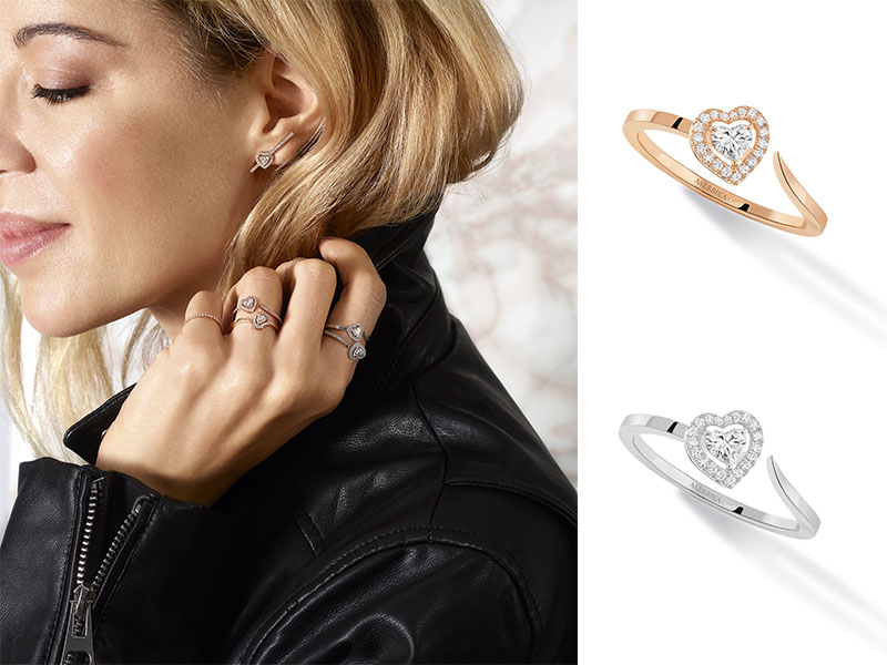 Messika - Bagues issues de la collection Joy Coeur en or rose et blanc serties de diamants