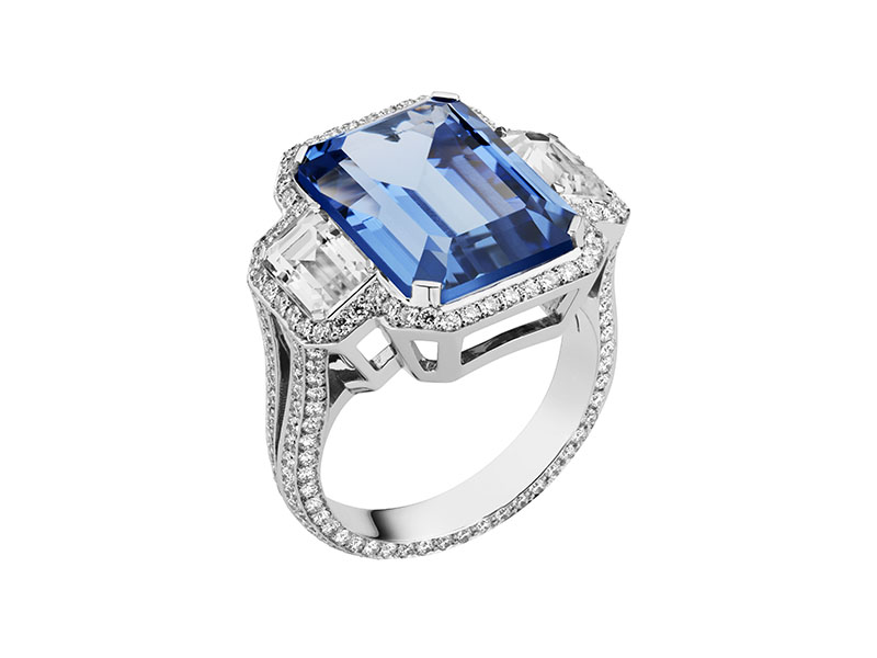 AS By Penelope Cruz - Bague sertie d'un saphir bleu et des diamants de laboratoire