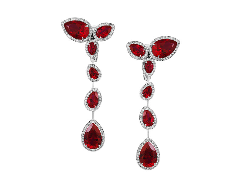 AS by Penelope Cruz Boucles d'oreilles serties de rubis et diamants de laboratoire et
