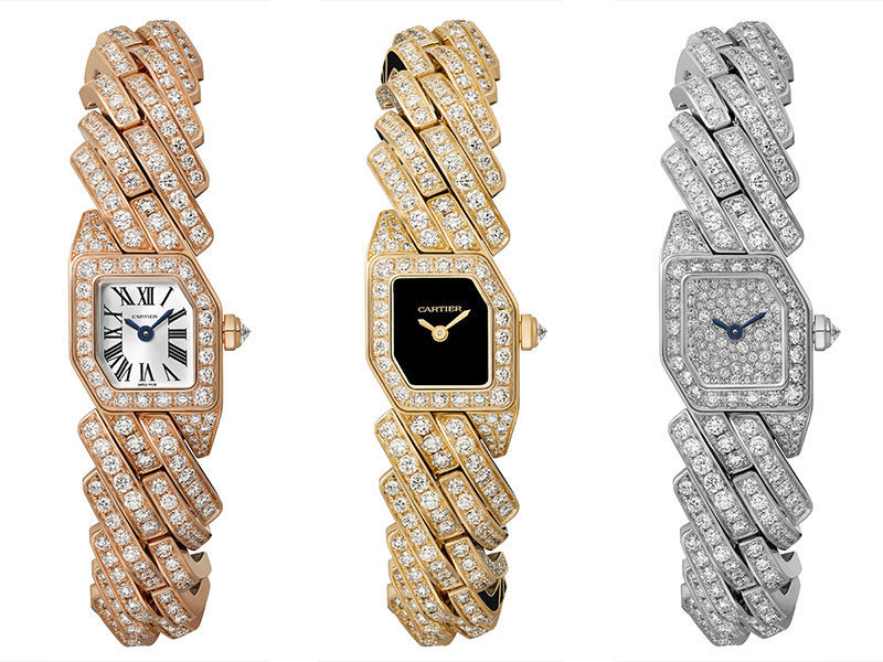 Cartier - Montres en or rose, jaune et blanc pavées de diamants