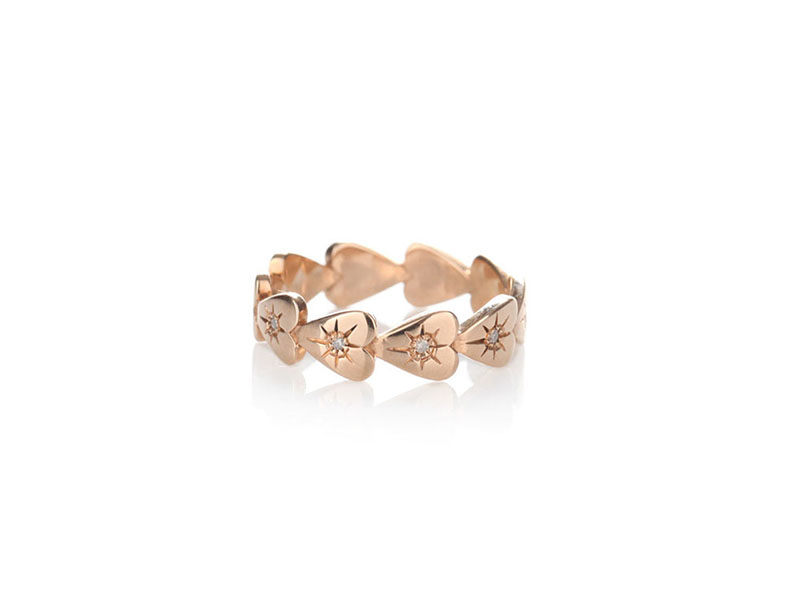Otto Jewels #717 ring 9kt rose gold grey diamonds