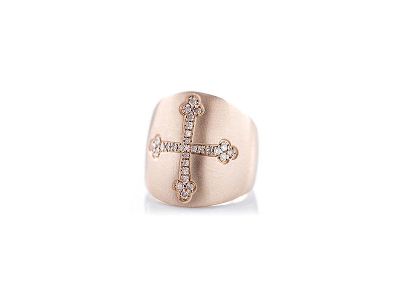 Otto Jewels - Bague Chevalière croix en diamants