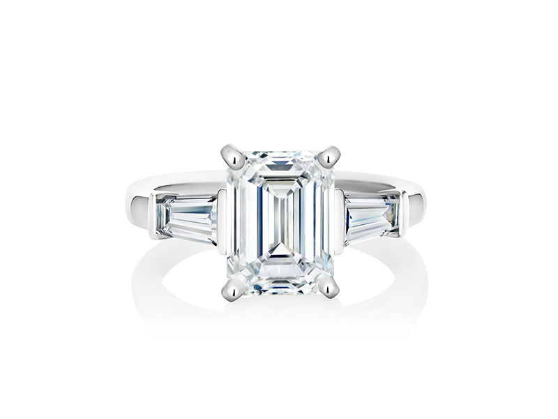 De Beers - DB Classic Emerald Cut Solitaire Ring with tapered baguettes