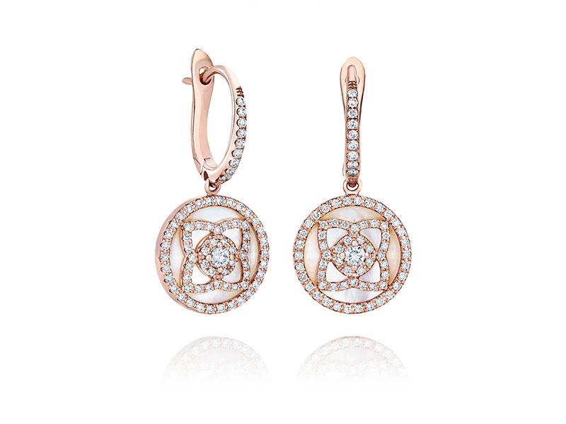 De Beers - Enchanted Lotus Rose Gold & White Mother of pearl Sleeper Earrings