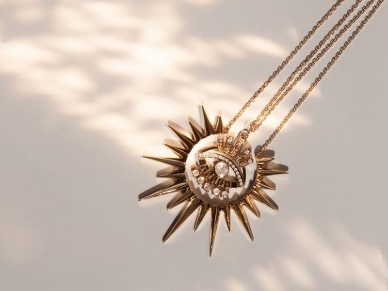 Celine Daoust - KING SUN YELLOW GOLD NECKLACE, SUN EYE & DANGLING DIAMONDS NECKLACE