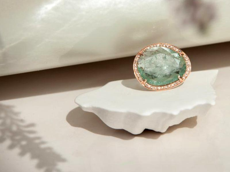 Celine Daoust - STELLA LIGHT BLUE AQUAMARINE & DIAMONDS RING