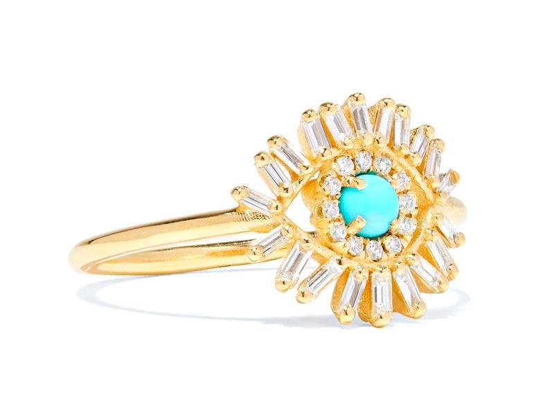 SUZANNE KALAN - Bague en or 18 carats, diamants et turquoise