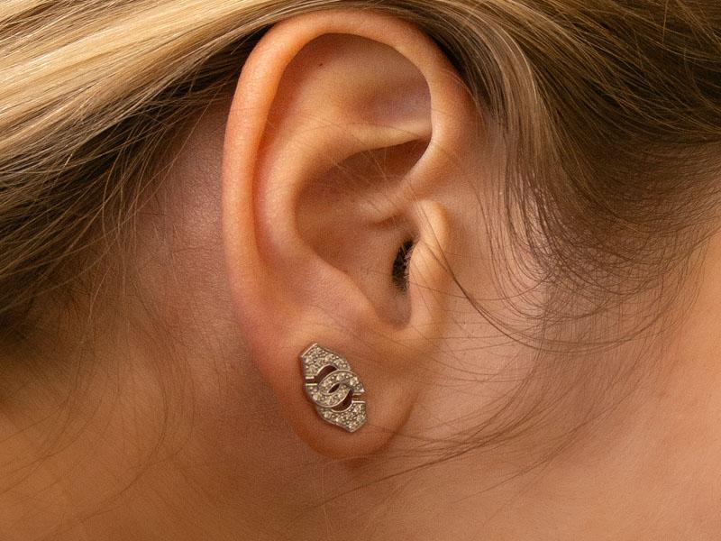 Dinh Van - Mono boucle d'oreille Menottes dinh van R8 or blanc et diamants