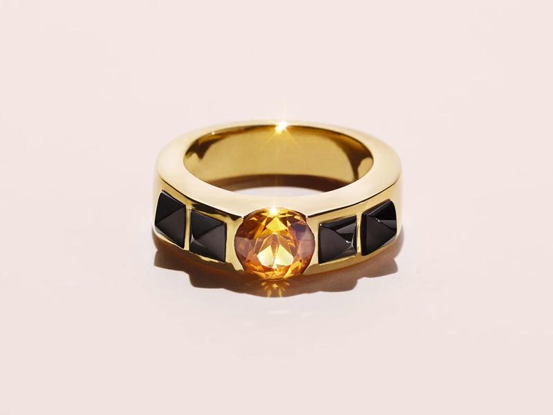Dangleterre - FAVORITE 2 en Or jaune 18 carats, 4 cabochons en onyx et une citrine madère d'1,3 carat