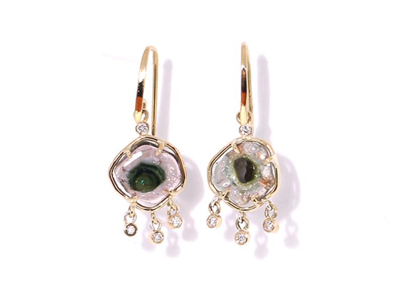 LES RÊVERIES D'EVE - Boucles d'oreilles tourmaline et diamant