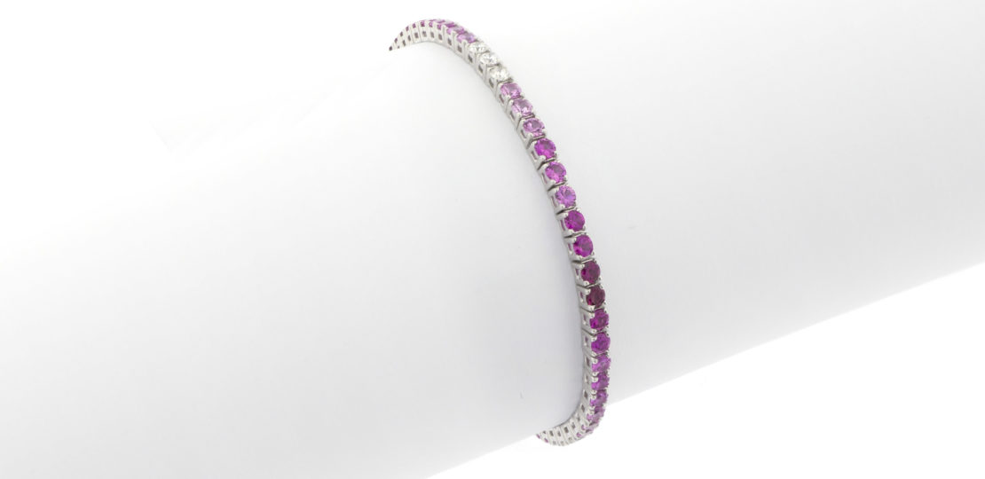 Rose dégradé of sapphires and diamond tennis bracelet