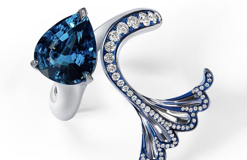 """ARIEL""  Tourmaline, Diamonds,  18K gold and titanium ring"