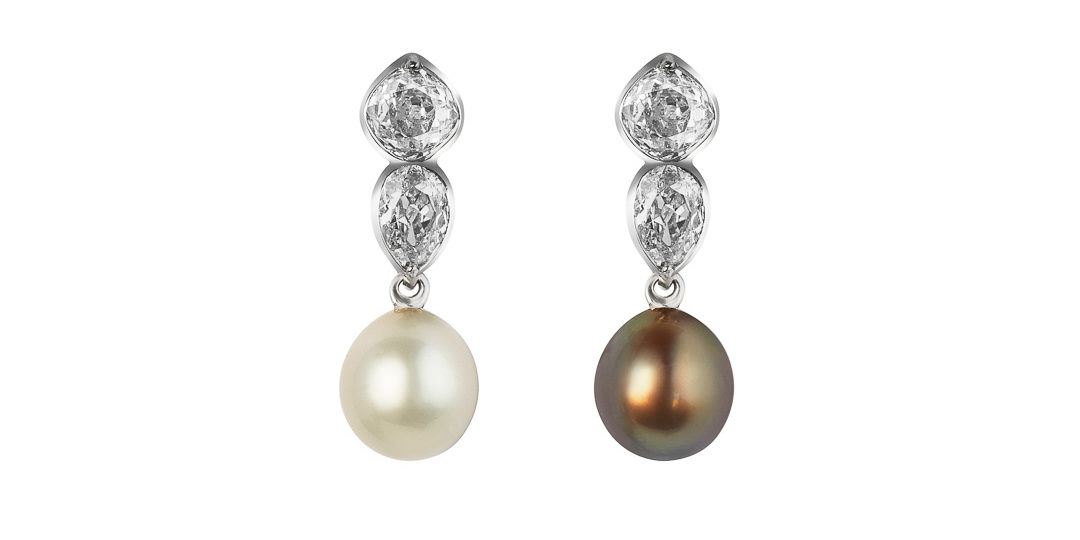 « Lee » natural pearls and diamonds convertible earrings