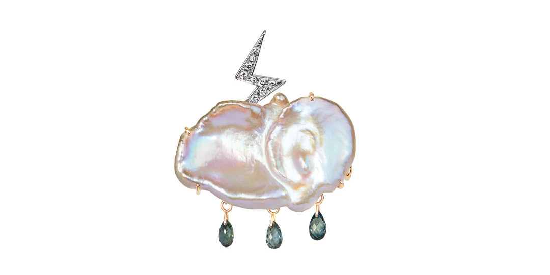 Zeus diamond and keshi pearl brooch-pendant